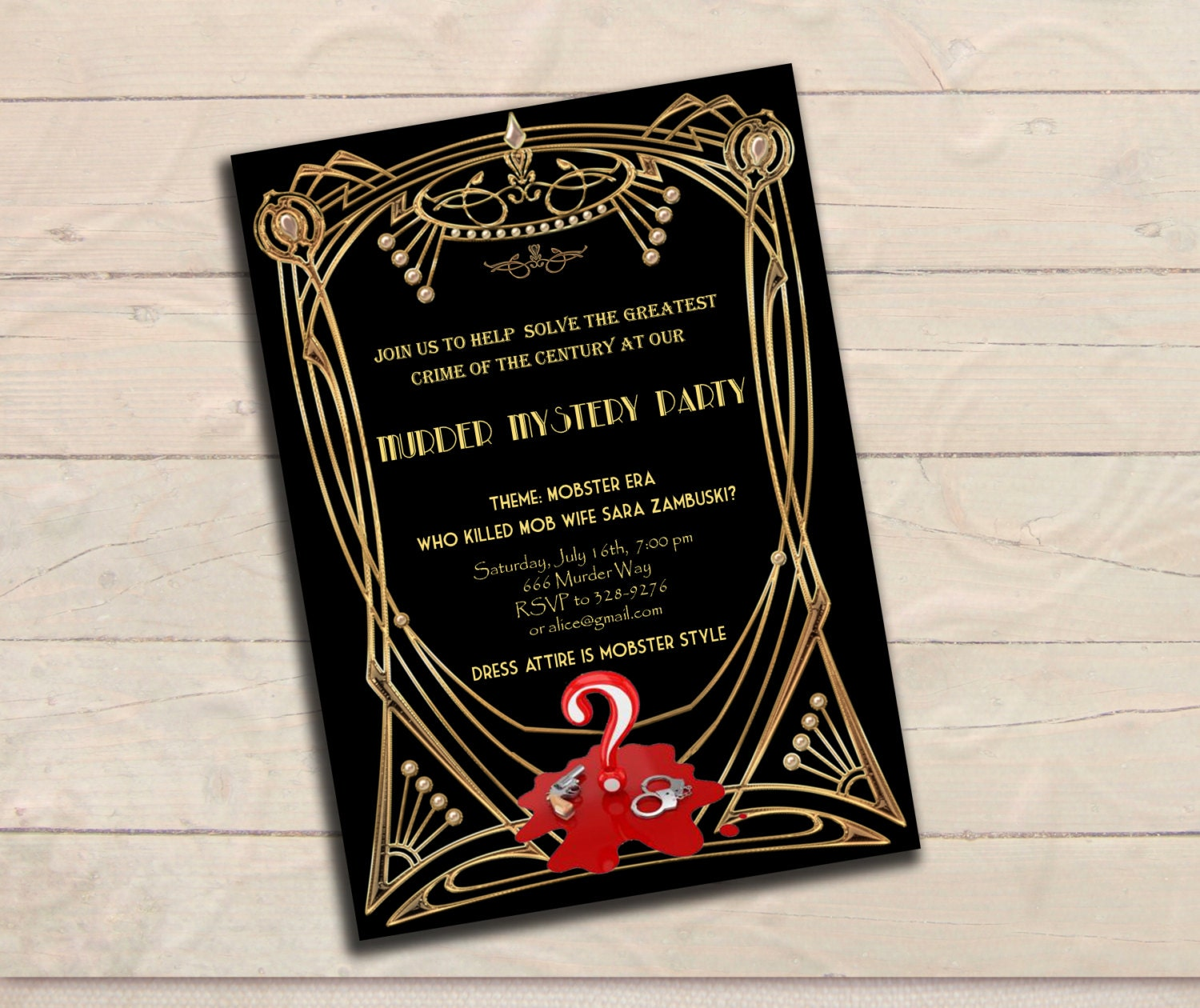 Murder Mystery Great Gatsby Inspired Party Invitation Black - 1920s party invitation template