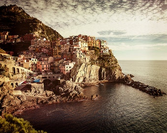 Italy photography, Cinque Terre photograph, Mediterranean photograph, Manarola, Cinque Terre Art, Five Lands. Vintage photography.