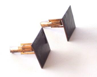 Vintage Black Enamel Copper Cuff Links, Modernist Abstract Copper Cufflinks, Vintage Copper Cuff Links, MCM Copper Cuff Links