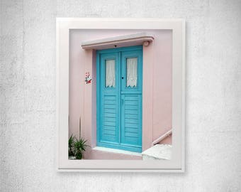 Door photography Dusty Pink Wall Art Greece Photography Greek photos Pink Wall decor Travel photography Turquoise decor Housewarming gift