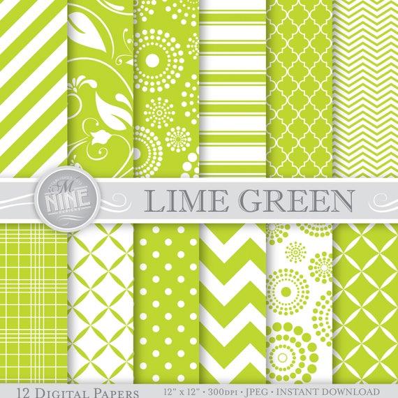 Lime Green Digital Paper Printable Patterns Seamless Patterns