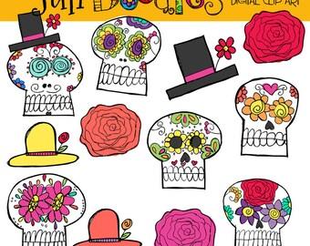Julianns Sugar Skulls  digital clipart and stamps COMBO
