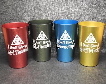 "Set of 4 ""Hogwords"" Laser-Engraved 12 oz Aluminum Tumblers"