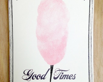 Good Times - Cotton Candy, Screen Printed Greeting Card