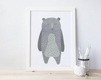 bear, nursery art print,  Giclee Art Print, woodland, archival art print