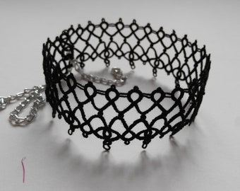 Tatted Lace Black Choker Necklace with Beads - Alexandra