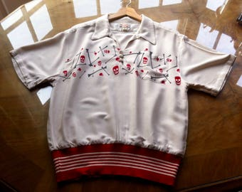 Rockabilly 50s Style Gaucho Pullover Shirt. L.