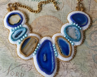 Large Agate Necklace, Statement Necklace, Blue Agate Necklace, Embroidered Statement Necklace, Agate Slice Necklace, Large Bib Necklace