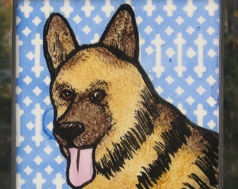 German Shepherd Stained Glass Dog Suncatcher JRN249