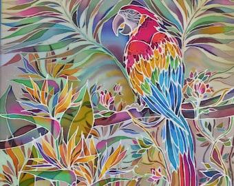 "Silk Painting. Original. Art. Hand painted. Unique item. Silk. Painting ""Parrot"""
