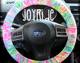Steering Wheel Cover Lilly Pulitzer Multi Fan Sea Pants Fabric Fully Lined With Grip Tight Designer