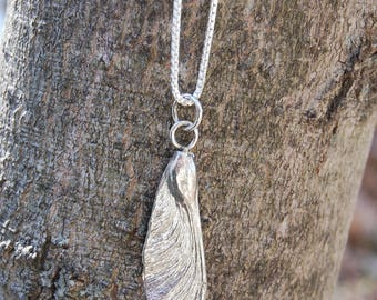 "Maple Seed Samara Sterling Silver Pendant Necklace 20"" Box Chain"
