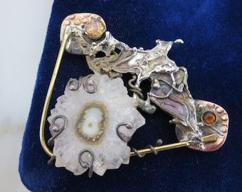 Brutalist Jewelry - Quartz Statement Brooch, Designer Artist Cathy McClain, Gift for Women