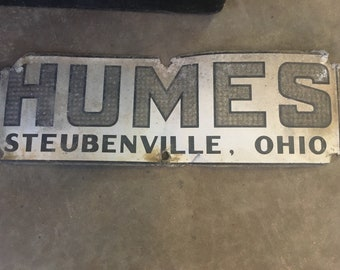 Vintage Humes transfer co. sign  Steubenville, Ohio