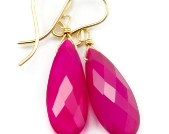Hot Pink Chalcedony Earrings Long Teardrop Shaped faceted 14k gold filled or Sterling Silver Briolettes Fuchsia Magenta Simple Classic