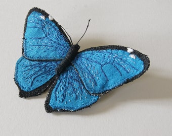 Morpho adonis Blue Butterfly Lepidoptera Textile Brooch Silk Linen Natural History Entomology Insect Wildlife Fiber Art Nature Lover Gift