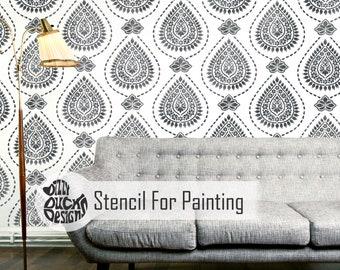 KASHMIR STENCIL - Indian Damask Furniture Wall Floor Craft Stencil for Painting - KASH01