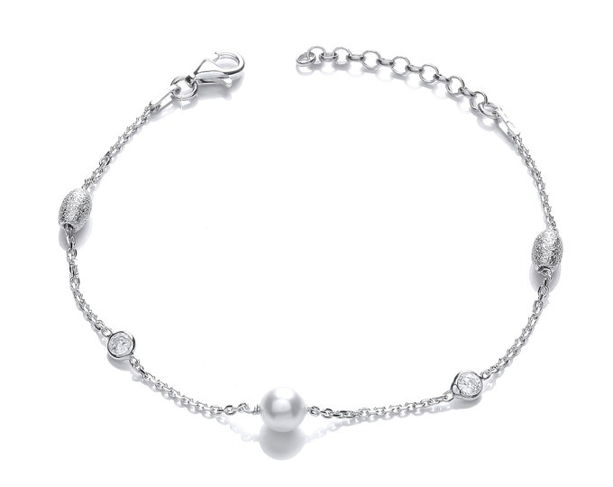"""925 Sterling Silver Crystal, Oval Hammered Bead & White Pearl 7"""" Bracelet"""