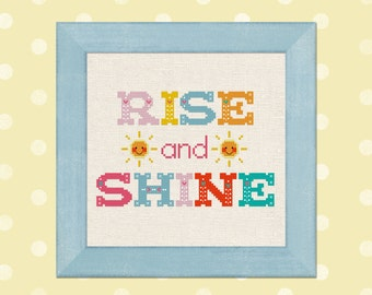 Rise and Shine. Happy Sun and Colorful Whimsical Text Modern Simple Cute Counted Cross Stitch PDF Pattern Instant Download