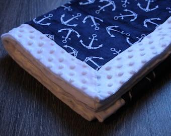 Double Minky Fleece Soft Cuddle Baby Lap Blanket Anchor Nautical