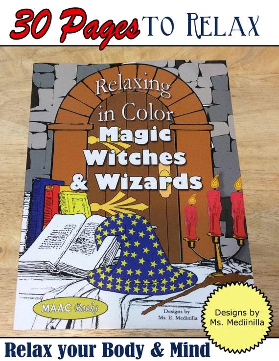 Relax en Color magia Brujas y magos para colorear libro para