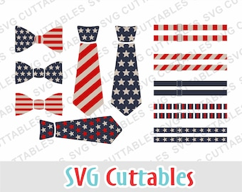 Fourth of July svg, tie svg, Bow Tie svg, Suspenders svg, EPS, DXF, July 4th, flag tie, silhouette file, cricut cut file, digital download