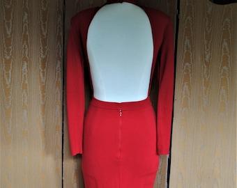Red sheath - 1990-naked back dress