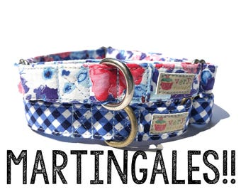 Martingale Dog Collars -  Organic Cotton - Antique Metal Hardware - Antique Brass or Antique Silver - Choose Your Pattern!