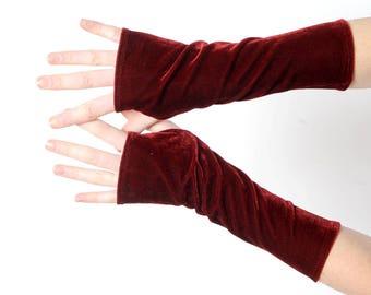 Dark red velvet armwarmers, Dark red fingerless gloves, Womens long fingerless gloves, Gift for her, Womens accessories, MALAM