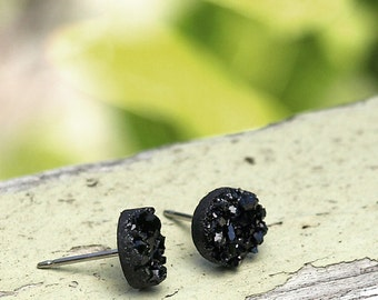 8mm Faux Druzy Stainless Steel Post Earrings, Mini Black Faux Druzy, Black Glitter Studs