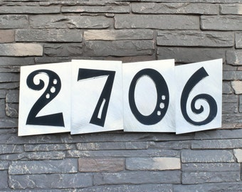 Modern House Numbers - Circus Font in Brushed Aluminum Finish