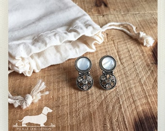 Shell Cirque. Post Earrings -- (Vintage-Style, Drop Earrings, Ivory, Pearl, Simple, Bridal, Rhinestones, Silver, Bridesmaid Gift Under 10)
