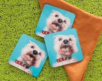 Funny Schnauzer Coasters, Pop Art Dog Coasters, Gift for Schnauzer Lovers, Colorful Schnauzer Gifts for the Home, Gifts for Dad