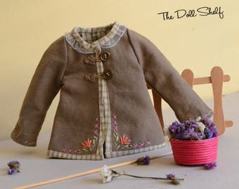 Brown jacket for doll 12 - 14 - 16 - 18 inches, Waldorf doll clothes, doll coat 12 - 14 - 16 - 18 inch, 12 - 14 - 16 - 18 inch doll clothes