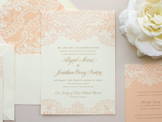 Elegant Lace Wedding Invitation, Vintage Lace Invitation, Peach Invitations, Vintage Wedding Invite SAMPLE   Hope