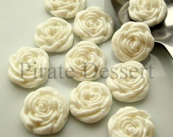 WHITE FONDANT ROSES  Cupcake Toppers -Sugar flowers- half inch White Roses - Edible cake decorations Flower cupcakes (White) (12 Pieces)