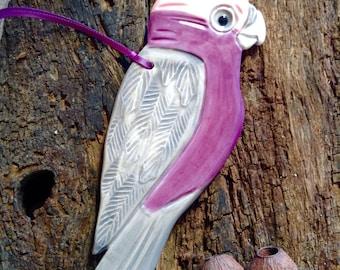 Ceramic Bird - Violet, Groovy, Hippy, Australian Galah Handmade