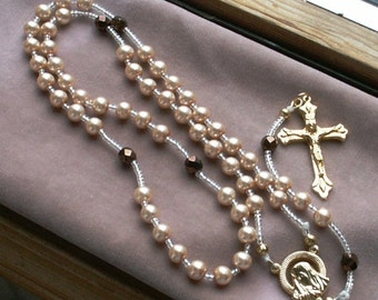 Peach Glass Pearl Beaded Style Rosary with Goldtone Components