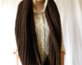 Oversized Long Chunky Knit Infinity Scarf Espresso Brown
