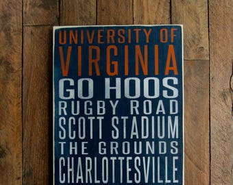 University of Virginia Cavaliers Distressed Wood Sign-Great Father's Day Gift!
