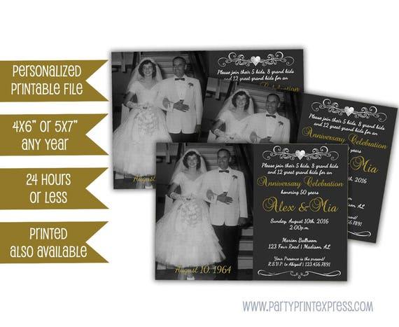 50th Wedding Vow Renewal Invitations: Printable Vow Renewal Invitation 50th Anniversary Invitation