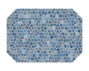 Blue placemat, printed cloth placemat, blue and gray mosaic design, fabric placemat, table linens, table setting, home decor