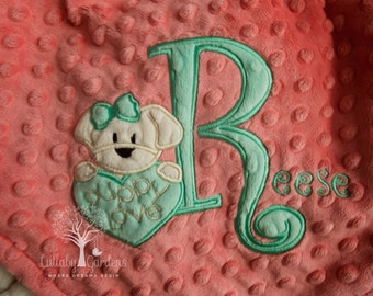 Personalized Baby Gifts, Minky Baby Blanket, Puppy Minky Blanket, Appliqued Puppy Minky Blanket, Girl Baby Blanket,