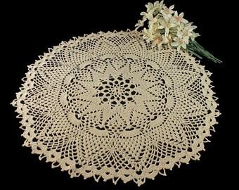 Crochet Doily, Round, 16.5-inch, Ecru (Natural), Pineapple, Round, Crochet Mat, Crochet Lace