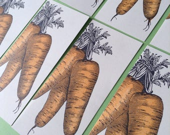 CARROT GREETING CARDS gardening letterpress Pack of 8 Farmers Market Letterpress Card hand printed orange vegetables organic farming