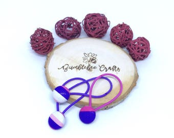 Set of 3 Pink & Purple Fabric Covered Button Hair Elastics