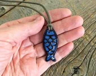 Ceramic pendant – Fish pottery necklace, Nautical pendant, Pottery jewel, Ceramic jewelry
