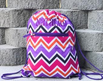 Personalized Drawstring Backpack - Drawstring Bag - Gym backpack - Cinch Sack - Gym Bag - Girls Drawstring Backpack - Pink Drawstring Bag