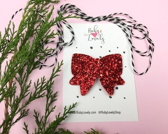 4th July Hair Bow, Red snap clip, glitter snap clips, Red Glitter Bow, Red Hair Bow, Snap Clips, girls hair Clips, Baby Hair Clips