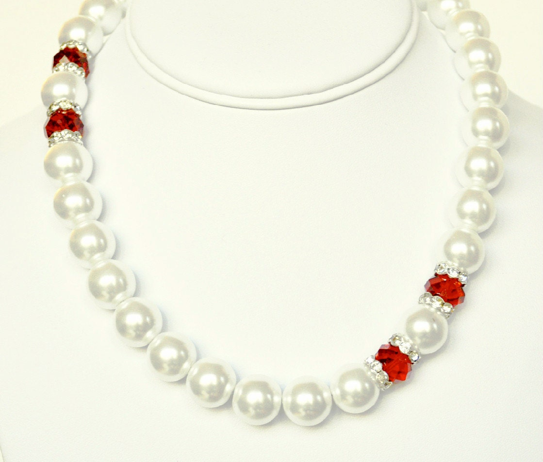White Pearl Necklace and Red Handmade Beaded Jewelry with